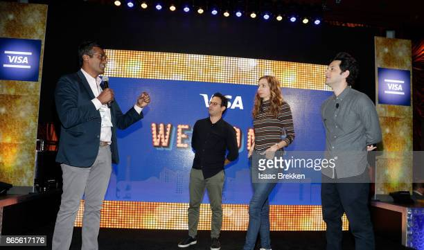 Avin Arumugam performs with Gil Ozeri Lauren Lapkus and Ben Schwartz during the Visa ID Intelligence launch party at Money 20/20 on October 23 2017...