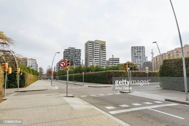 avinguda diagonal street of barcelona city with modern skyline. - road junction stock pictures, royalty-free photos & images