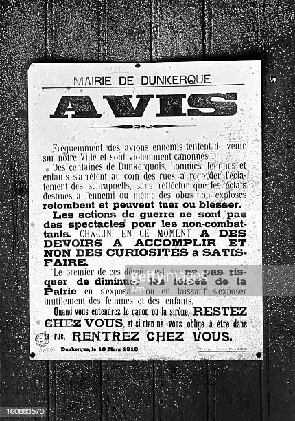 Avis daté du 18 mars 1916pendant la Première Guerre mondiale diffusé par la mairie de Dunkerque donnant des consignes de prudence à la population de...