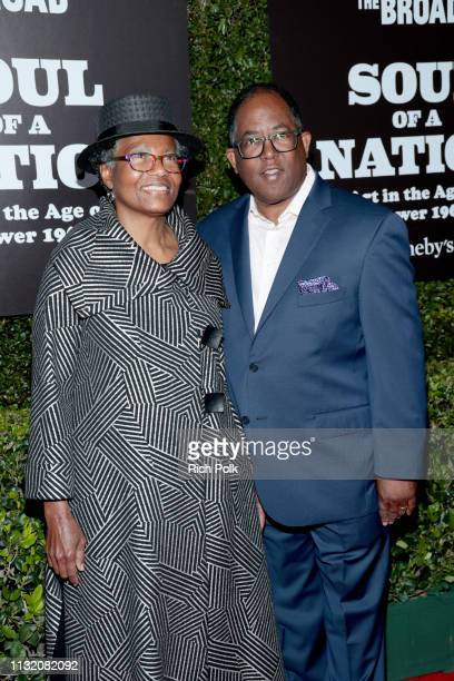 Avis Thomas and Mark RidleyThomas attend The Broad Museum celebration for the opening of Soul Of A Nation Art in the Age of Black Power 19631983 Art...