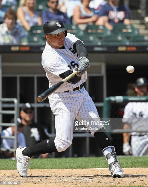 Avisail Garcia of the Chicago White Sox bats against the Minnesota Twins at Guaranteed Rate Field on June 28 2018 in Chicago Illinois The Twins...