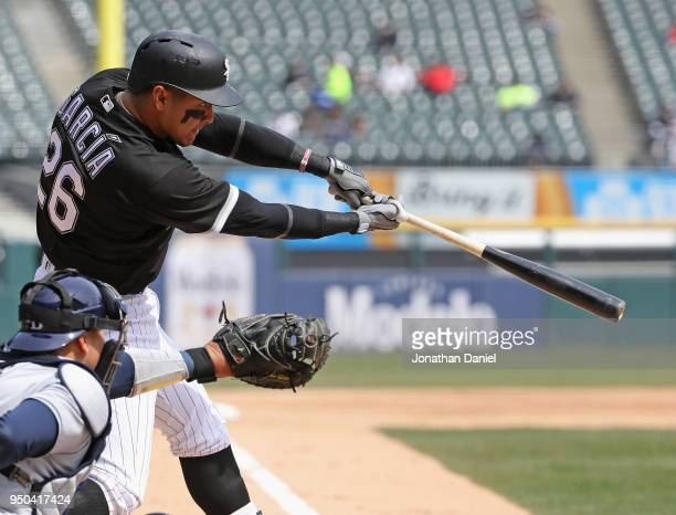 Avisail Garcia of the Chicago White Sox bats against the Tampa Bay Rays at Guaranteed Rate Field on April 11 2018 in Chicago Illinois The White Sox...