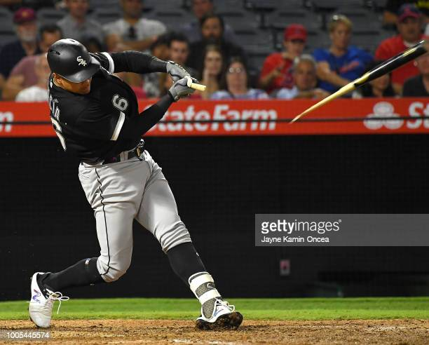 Avisail Garcia of the Chicago White Sox breaks his bat as he grounds out in the eighth inning against the Los Angeles Angels of Anaheim at Angel...