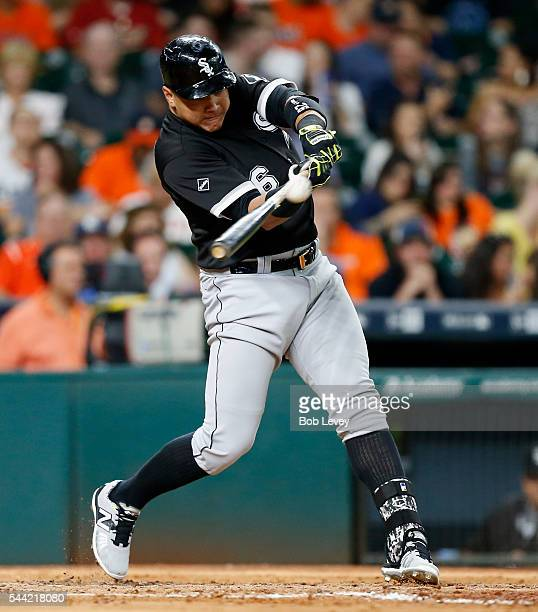 Avisail Garcia of the Chicago White Sox doubles in the second inning against the Houston Astros at Minute Maid Park on July 1 2016 in Houston Texas