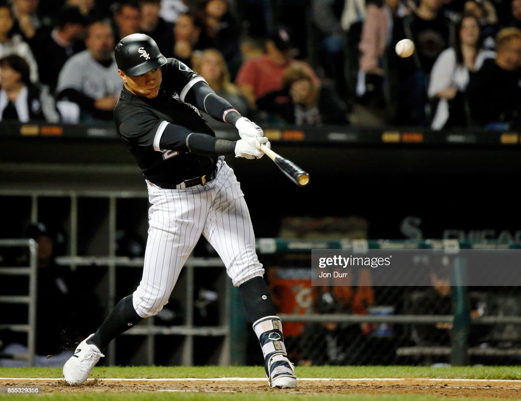 Avisail Garcia #26 of the Chicago White Sox hits a double against the Los Angeles Angels of Anaheim during the eighth inning at Guaranteed Rate Field on September 28, 2017 in Chicago, Illinois. The Chicago White Sox won 5-4.