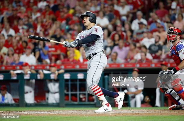 Avisail Garcia of the Chicago White Sox hits a home run in the ninth inning against the Cincinnati Reds at Great American Ball Park on July 3 2018 in...