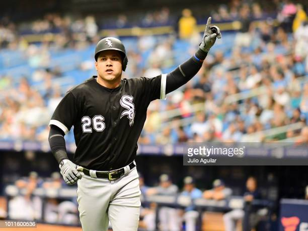 Avisail Garcia of the Chicago White Sox hits a homer in the fifth inning against the Tampa Bay Rays on August 5 2018 at Tropicana Field in St...