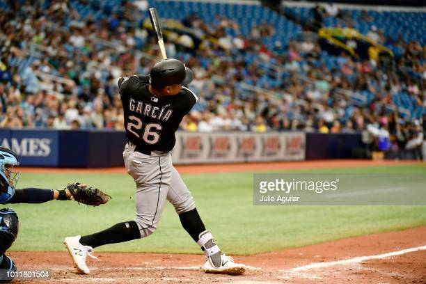 Avisail Garcia of the Chicago White Sox hits a single homer in the seventh inning against the Tampa Bay Rays on August 5 2018 at Tropicana Field in...