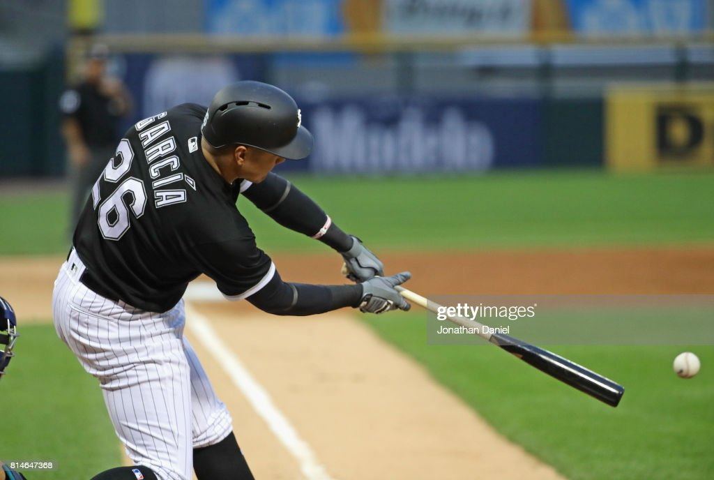 Avisail Garcia #26 of the Chicago White Sox hits a single in the 2nd inning against the Seattle Mariners at Guaranteed Rate Field on July 14, 2017 in Chicago, Illinois.