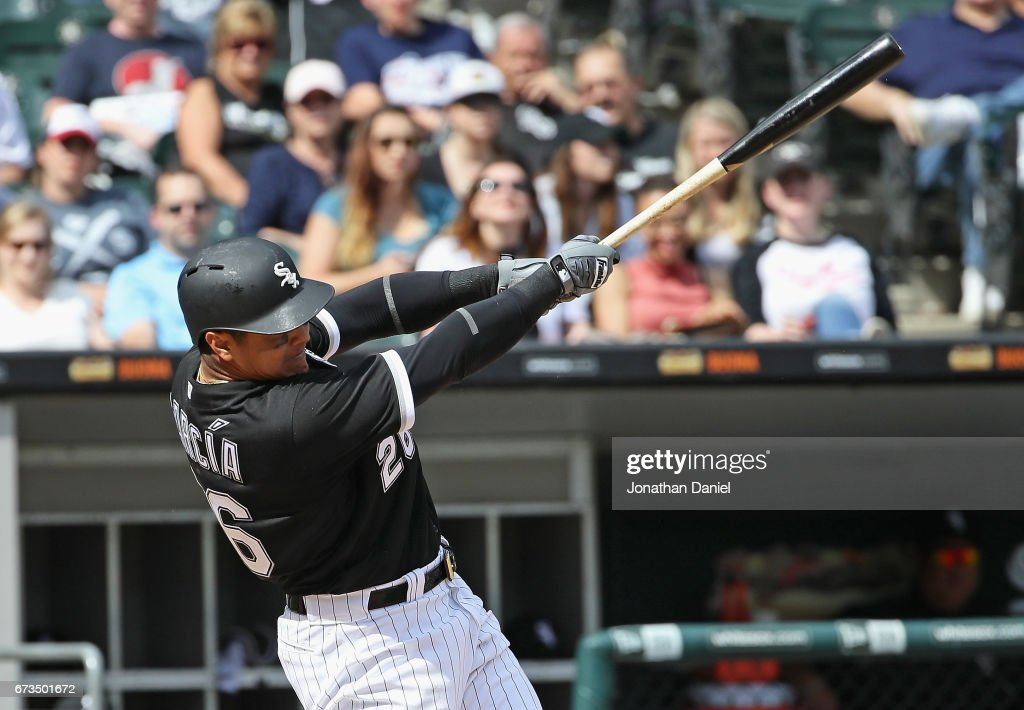 Avisail Garcia #26 of the Chicago White Sox hits a two run home run in the 6th inning against the Kansas City Royals at Guaranteed Rate Field on April 26, 2017 in Chicago, Illinois.