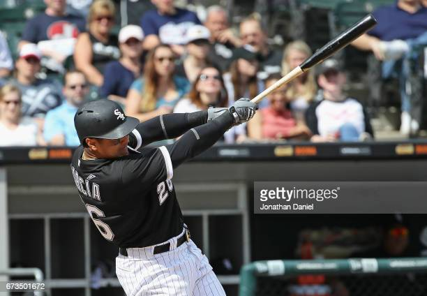 Avisail Garcia of the Chicago White Sox hits a two run home run in the 6th inning against the Kansas City Royals at Guaranteed Rate Field on April 26...
