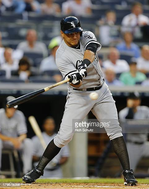 Avisail Garcia of the Chicago White Sox in action against the New York Yankees in a MLB baseball game at Yankee Stadium on September 4 2013 in the...