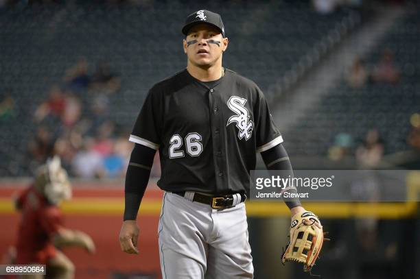 Avisail Garcia of the Chicago White Sox looks on prior to the MLB game against the Arizona Diamondbacks at Chase Field on May 24 2017 in Phoenix...