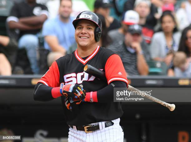 Avisail Garcia of the Chicago White Sox looks on while wearing a special uniform to celebrate Players Weekend during the game against the Detroit...