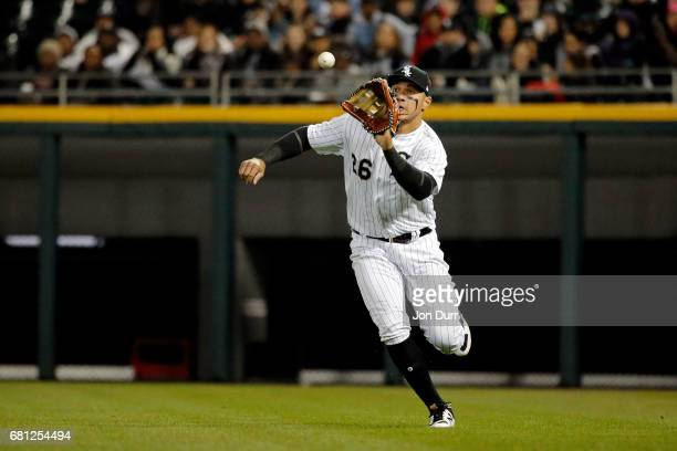 Avisail Garcia of the Chicago White Sox makes a running catch for an out against the Minnesota Twins during the fifth inning at Guaranteed Rate Field...