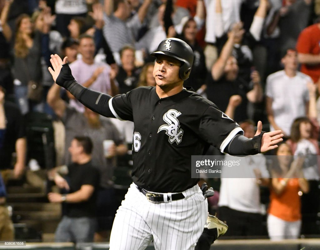Avisail Garcia #26 of the Chicago White Sox scores the game-winning run against the Minnesota Twins during the ninth inning on August 23, 2017 at Guaranteed Rate Field in Chicago, Illinois. The White Sox defeated the Twins 4-3.