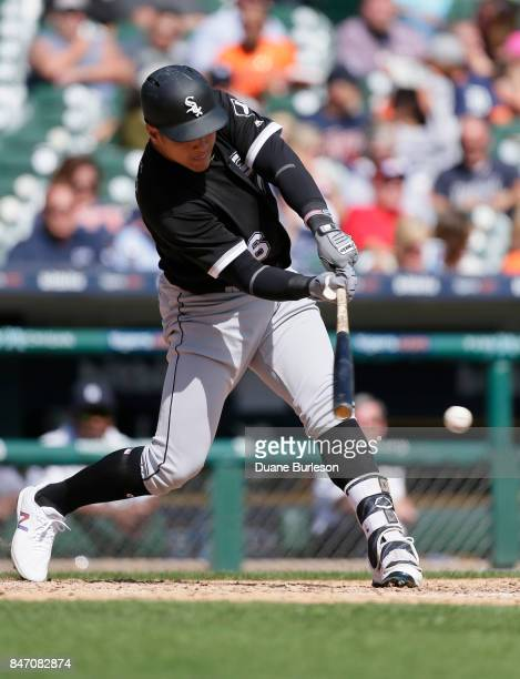 Avisail Garcia of the Chicago White Sox singles to drive in two runs against the Detroit Tigers during the fourth inning at Comerica Park on...