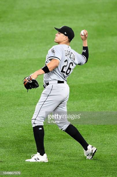 Avisail Garcia of the Chicago White Sox throws the ball in from the outfield against the Baltimore Orioles at Oriole Park at Camden Yards on...