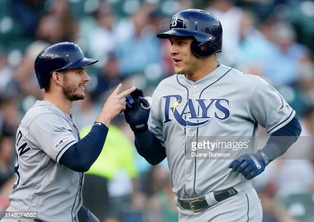Avisail Garcia of the Tampa Bay Rays celebrates his tworun home run with Daniel Robertson during the third inning at Comerica Park on June 4 2019 in...