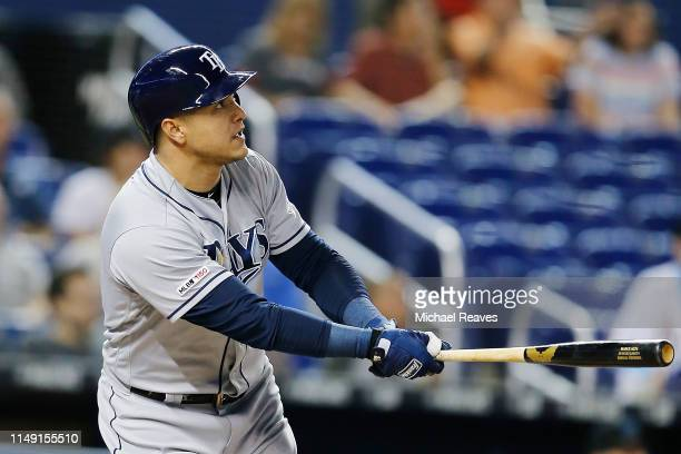 Avisail Garcia of the Tampa Bay Rays reacts after hitting a solo home run in the second inning against the Miami Marlins at Marlins Park on May 14...