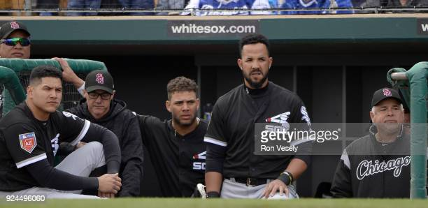 Avisail Garcia Yoan Moncada Jose Abreu and Manager Rick Renteria of the Chicago White Sox look on against the Los Angeles Dodgers on February 23 2018...