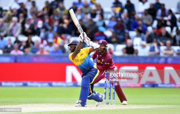 Avishka Fernando of Sri Lanka bats during the Group Stage match of the ICC Cricket World Cup 2019 between Sri Lanka and West Indies at Emirates...