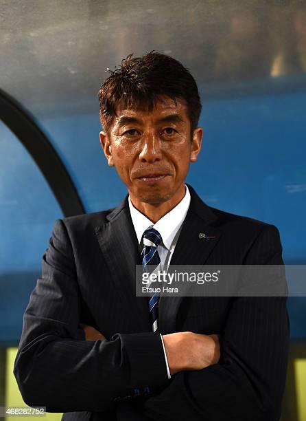 Avispa Fukuoka head coach Masami Ihara looks on during the JLeague second division match between Yokohama FC and Avispa Fukuoka at Nippatsu Mitsuzawa...