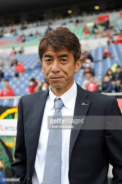 Avispa Fukuoka head coach Masami Ihara looks on prior to the JLeague match between Urawa Red Diamonds and Avispa Fukuoka at the Saitama Stadium on...