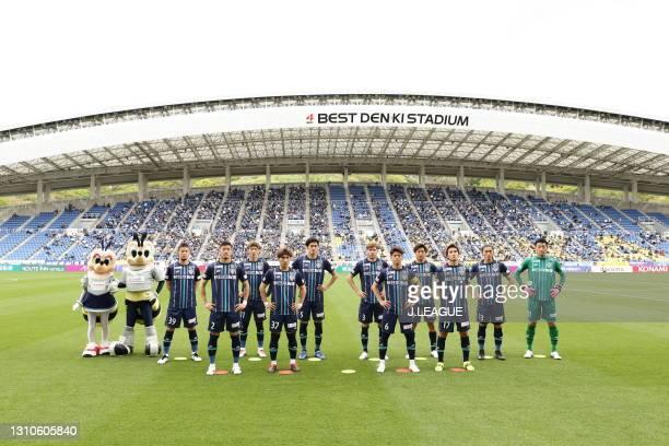 Avispa Fukuoka players line up for the team photos prior to the J.League Meiji Yasuda J1 match between Avispa Fukuoka and Consadole Sapporo at the...