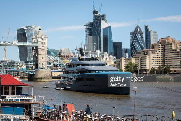 Aviva a luxury yacht belonging to billionaire Tottenham Hotspur owner Joe Lewis is pictured moored by Butler's Wharf on July 3 2018 in London England...