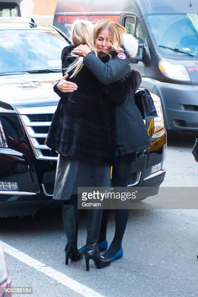 Aviva Drescher and Kelly Bensimon are seen departing from the funeral for Bobby Zarin at Riverside Memorial Chapel on January 15 2018 in New York City