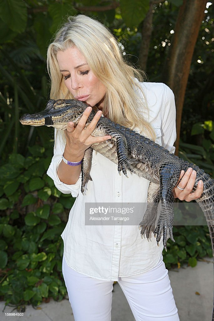 Aviva Drescher are seen during the Jungle Island VIP Safari Tour at Jungle Island on January 4, 2013 in Miami, Florida.
