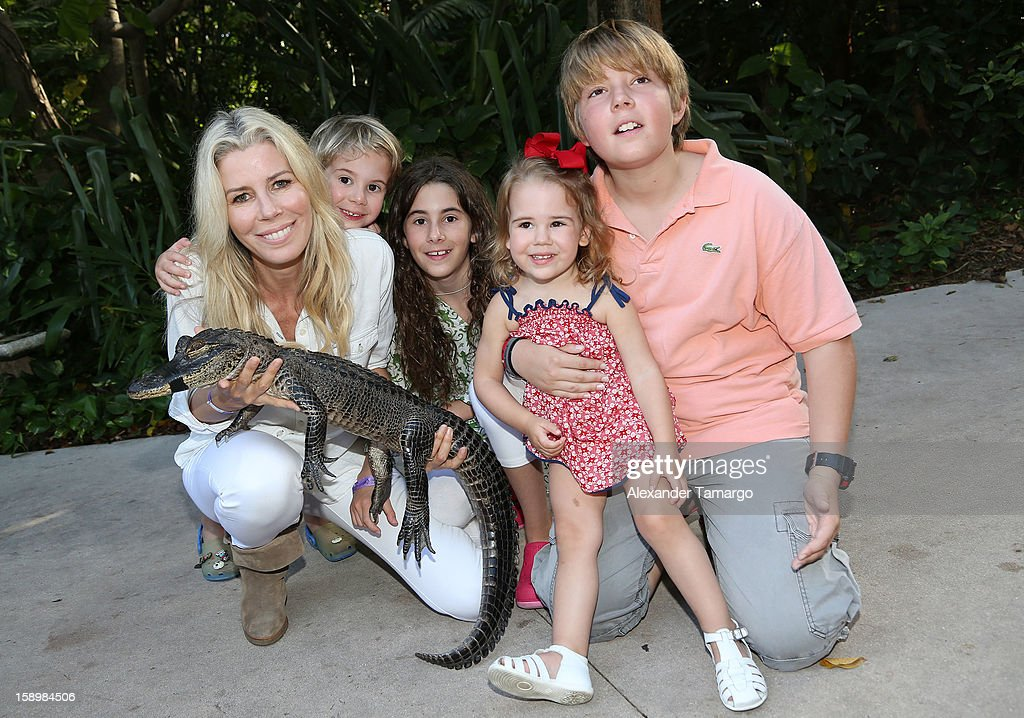 Aviva Drescher, Hudson Drescher, Veronica Drescher, Sienna Drescher and Harrison Drescher are seen during the Jungle Island VIP Safari Tour at Jungle Island on January 4, 2013 in Miami, Florida.