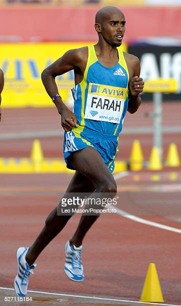 Aviva London GP athletics Crystal Palace Sports Centre London UK Mo Farah GBR in the Mens 3000m final where he finished 2nd to Bernard Lagat USA