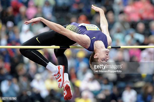 Aviva London GP athletics Crystal Palace Sports Centre London UK Aleksandr Shustov RUS in the mens high jump final The event was won by Ivan Ukhov RUS