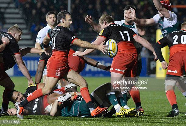 Aviva Premiership Rugby Saracens v Leicester Tigers at The Allianz Park Stadium London UK action during the match which was won by Saracens 266