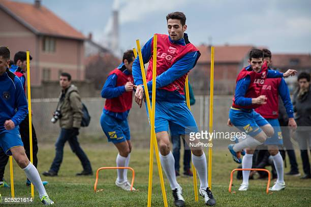 Avni Pepa who plays for Sandnes Ulf in Norway practices with the Kosovo National Team at the KeK stadium on the Kastriot/Obilic district of Pristina...