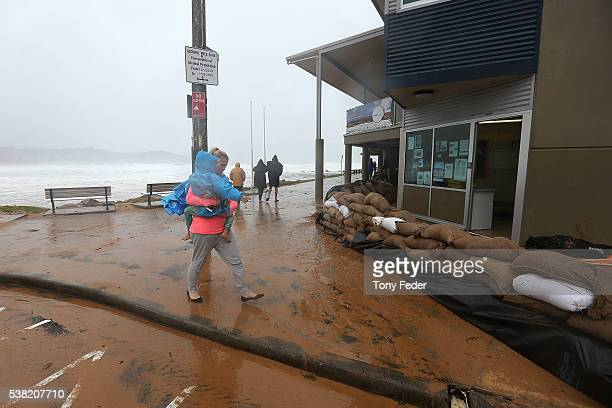 Avoca Beach Surf Life Saving Club on the New South Wales Central Coast surrounded by sand bags June 5 2016 in Sydney Australia The Bureau of...