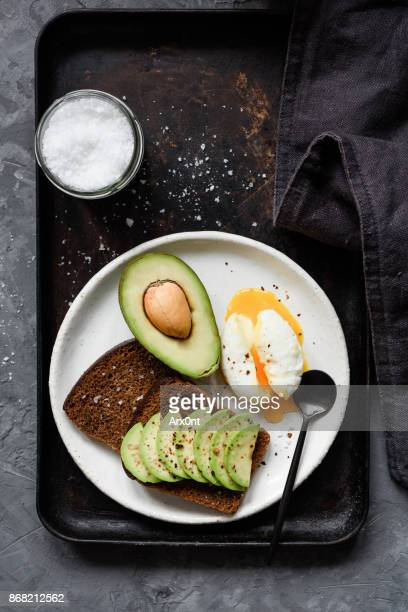 Avocado and poached egg on rye toast