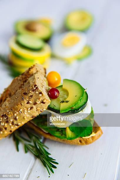 Avocado, cucumber and egg sandwich