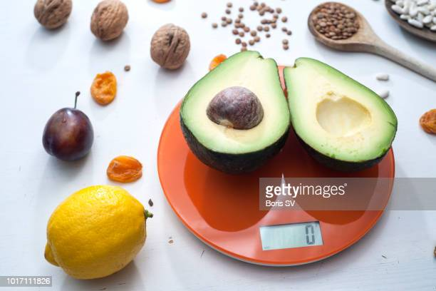 Avocado on scales with zero weight