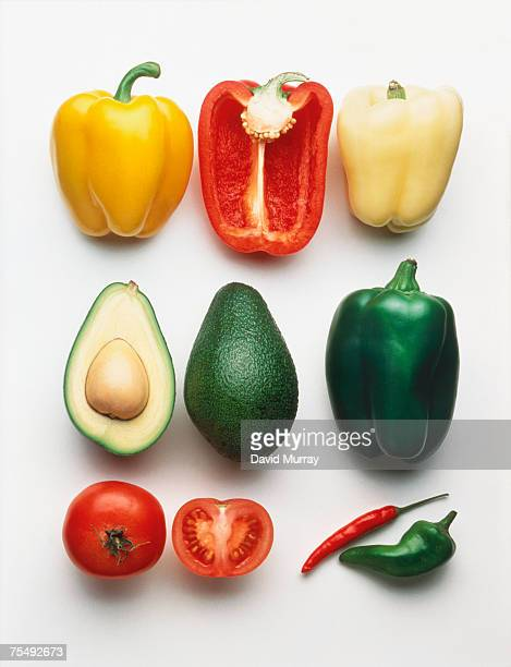 Avocado, peppers and tomatoes