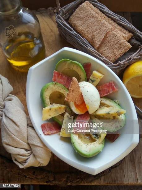 Avocado, proscuitto and blue cheese salad