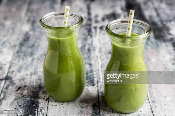 Avocado smoothie, green smoothie with cucumber, apple, celeriac