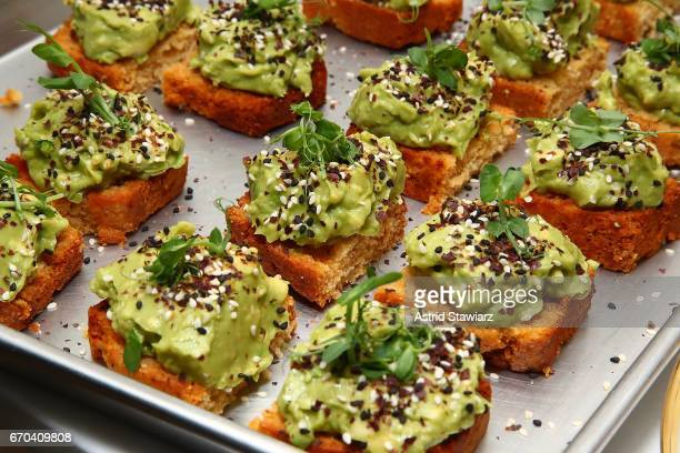 Avocado toast is served during CBD For Life future of healing event held at the Alchemists Kitchen on April 19 2017 in New York City