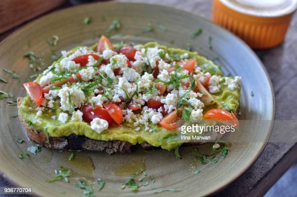 Avocado Toast with feta cheese and cherry tomatoes