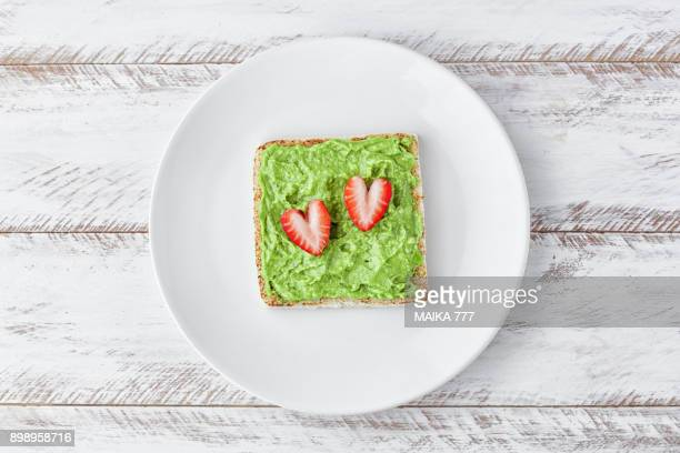 Avocado toast with strawberries