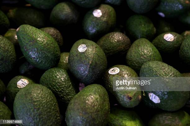 Avocados are displayed at a produce market on April 02 2019 in San Francisco California According to the CEO of Mission Produce the avocado supply in...
