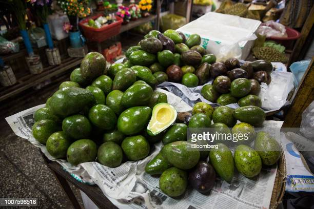 Avocados are displayed for sale at a stall at Orussey Market in Phnom Penh Cambodia on Friday July 27 2018 Cambodian Prime MinisterHun Senextended...