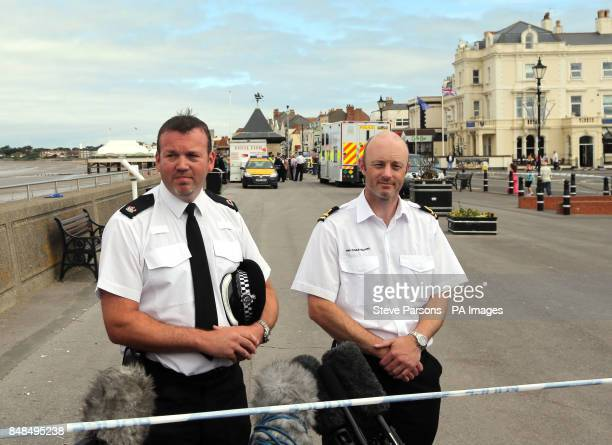 Avon and Somerset Superintendent Keith McCoubrey and Coastguard sector manager Tristam Newey speak to the media at the scene in BurnhamonSea Somerset...